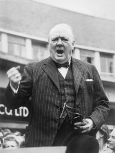 Winston Churchill giving a speech
